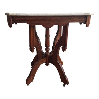 Victorian Square Marble Top Side Table