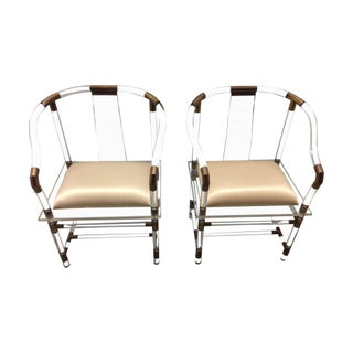 Lucite And Brass Horseshoe Chairs - A Pair