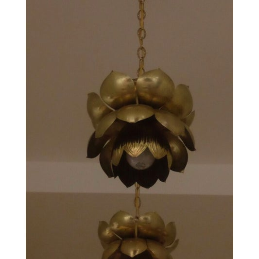 Small Brass Lotus Pendant Lights - Set of 3 - Image 4 of 7