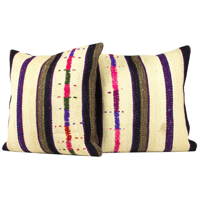 Handwoven Vintage Kilim Pillows - A Pair - Image 1 of 3
