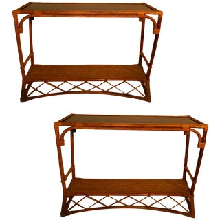 French Vintage Colonial Bamboo Consoles - Pair