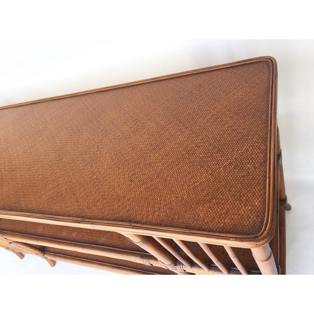 Reeded Bamboo and Woven Rattan Open Shelf ConsoleTable - Image 5 of 6