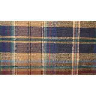 Vintage Mid-Century Brown Blue Plaid Upholstery Fabric - 2 Yards