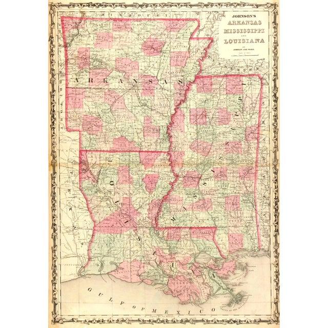 Vintage Map Louisiana Arkansas Amp Mississippi1863  Chairish
