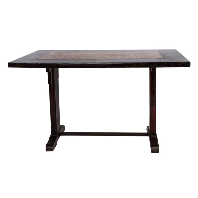 French Wooden Table With Marble Inlay - Image 1 of 6