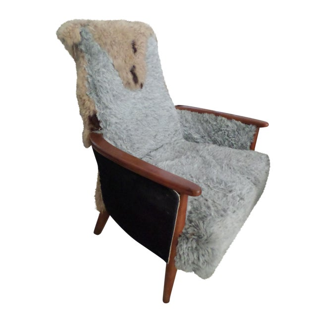 Image of Mid Century Teak Armchair with Mixed Fur & Textile