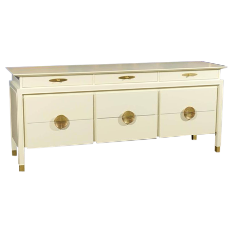 Restored Nine Drawer Chest By Johnson Furniture Company In Cream Lacquer    Image 1 Of