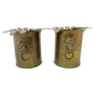 Antique French Trench Art Planters - A Pair