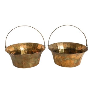 Brass Fluted Cachepot Handled Baskets - A Pair