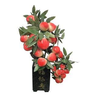 Chinese Jade & Ceramic White Peach Tree Sculpture