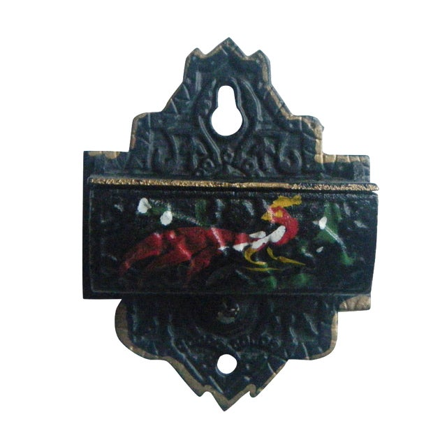 Image of Vintage Cast Iron Match Safe With Rooster Design