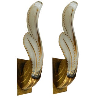 Rewired Italian Murano Sconces - A Pair