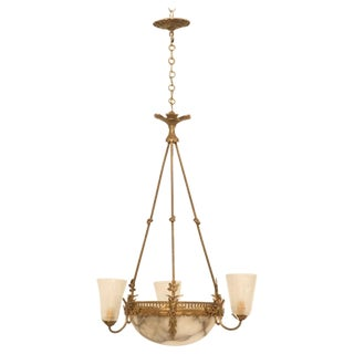 Jaw Dropping French Alabaster Hanging Light Fixture w/Art Deco Frosted Shades