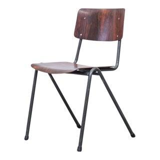Traditional Dark Teak Stacking School Chair