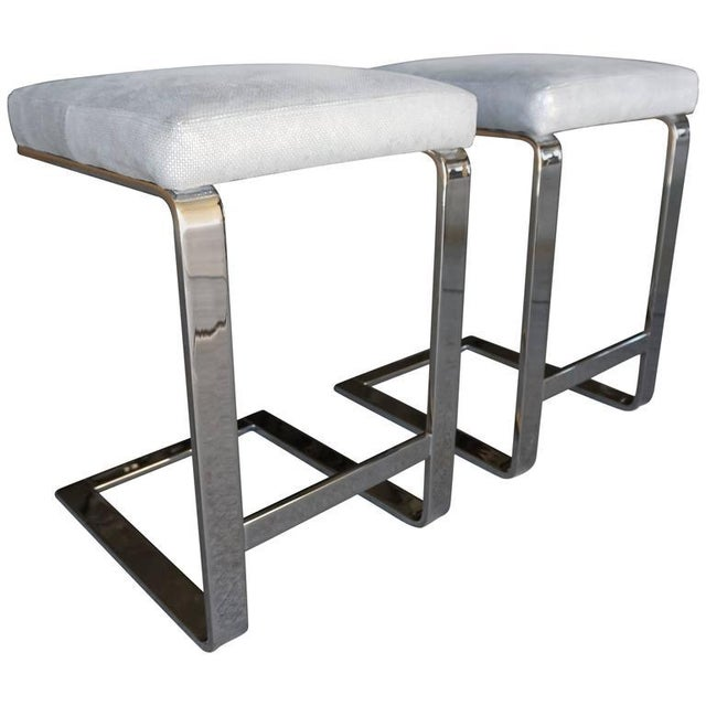 Image of Pace Nickel Plated Counter Stools - Pair