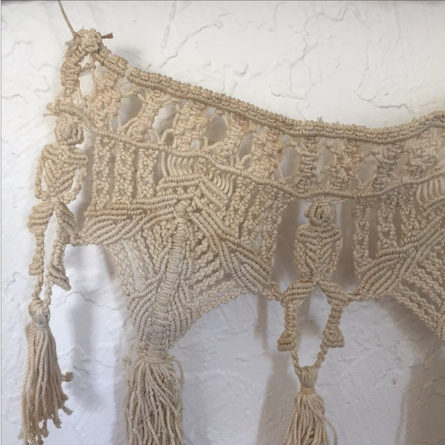 Vintage Macrame Wall Hanging on Driftwood - Image 4 of 5