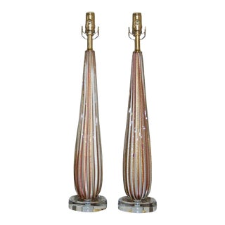 Lavender Striped Vintage Murano Lamps