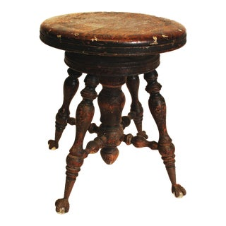 Victorian Wood Clawfoot Swivel Piano Stool