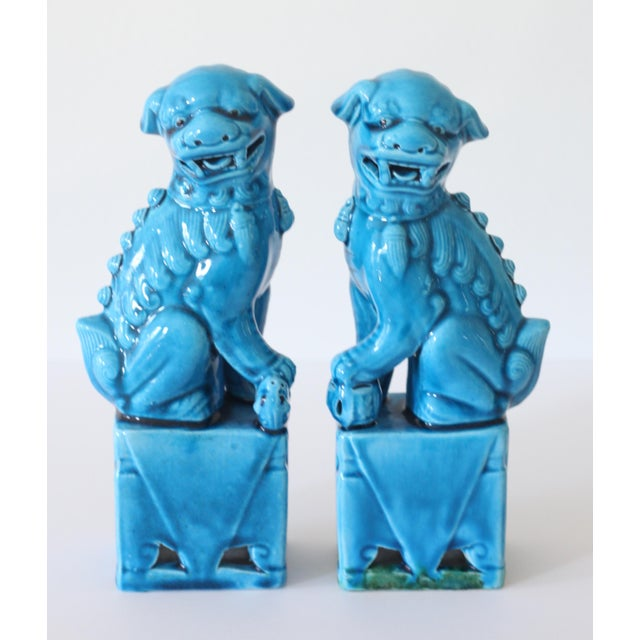 Blue Turquoise Foo Dogs - A Pair - Image 2 of 5