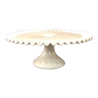 Vintage Fenton Milk Glass Hobnail Cake Stand with Ruffled Edge