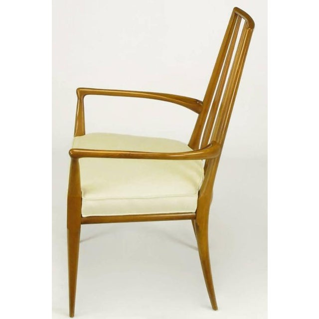 Pair of Bert England Sculpted Walnut and Off-White Linen Slatback Armchairs - Image 5 of 7