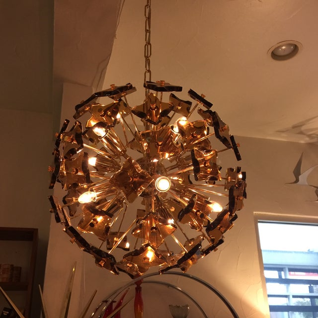 fontana arte sputnik chandelier bronze glass chairish. Black Bedroom Furniture Sets. Home Design Ideas