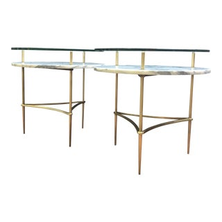 Italian Tiered Carrara Marble Side Tables - A Pair