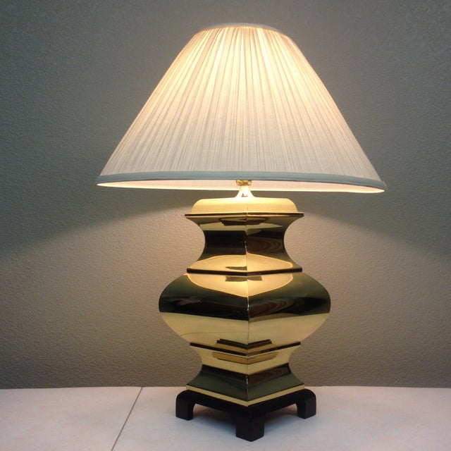 Image of Large Brass Asian Table Lamps - A Pair