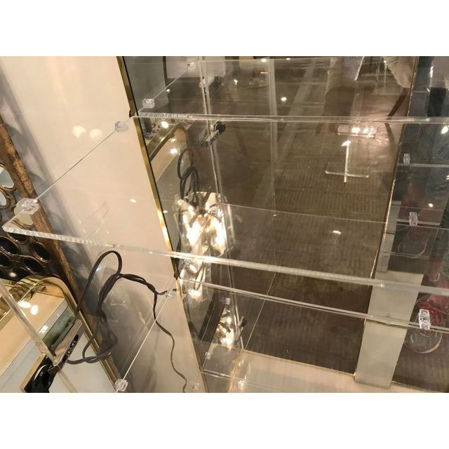 Tall Lucite, Mirror and Gold Tone Metal Cabinet with Upper and Lower Lighting - Image 8 of 10
