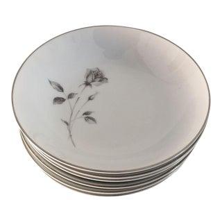 "Vintage Fine China ""Shadow Rose"" Dessert/Berry Bowls - Set of 6"