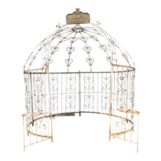 Large Mid-Century Iron Gazebo with Planters