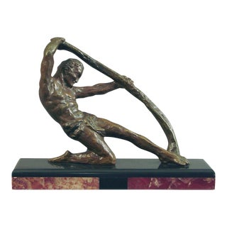 Noted French Art Deco Sculptor Decoux: Bronze Manly Man