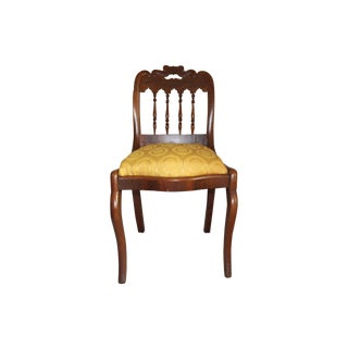 Wood & Yellow Seat Louis XV Style Side Chair