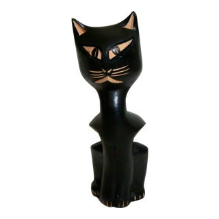 Vintage Wooden Carved Black Cat Figurine
