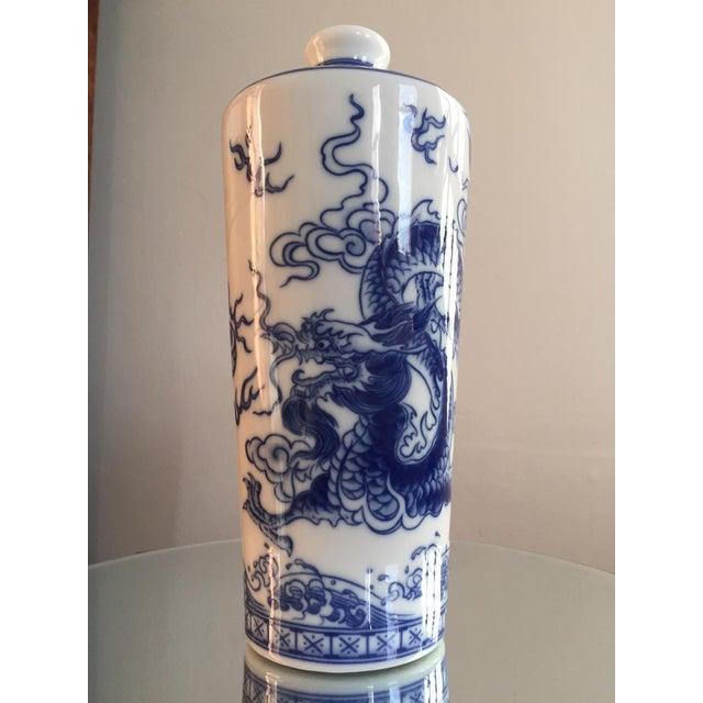 Blue and White Dragon Vases - Pair - Image 9 of 10