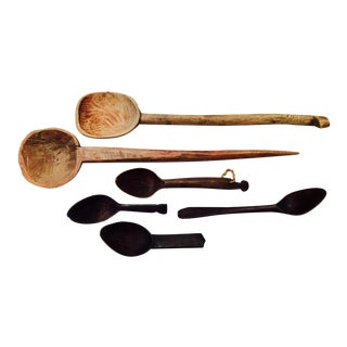 Wooden Tribal Spoons - Set of 6