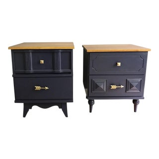 Mid-Century Modern Blue Nightstands - A Pair