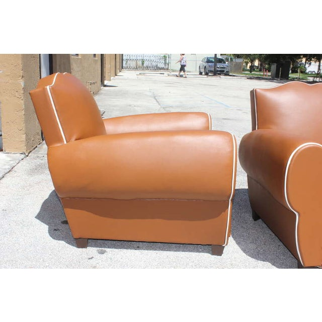 French Art Deco Vinyl Club Chairs - A Pair - Image 5 of 7