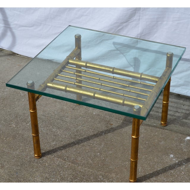 Gold faux bamboo metal coffee table chairish Gold metal coffee table