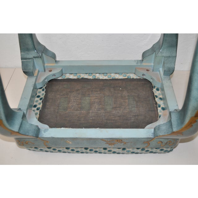 1960s Baker Furniture Upholstered Chinoiserie Seat - Image 7 of 8