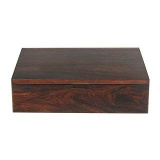 Danish Rosewood & Brass Pivot Top Jewelry Box