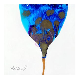 "Original Poured Resin ""Blue to Blue"" Botanical Painting"