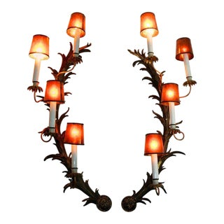 French Rococo Bronze Half Moon Sconces - A Pair