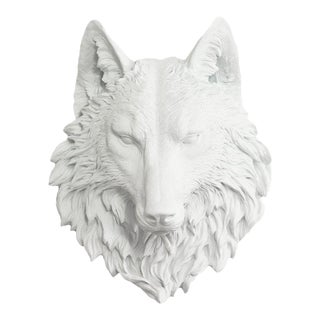 Wall Charmers White Faux Wolf Head