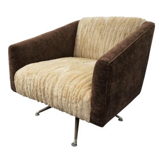 Italian Swivel Chair Chocolate Velvet & Peanut Butter Faux Fur