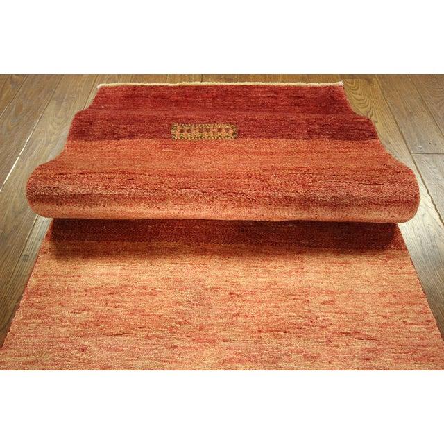 "Orange Striped Gabbeh Runner Rug - 2'10"" x 13'9"" - Image 8 of 10"