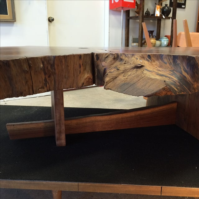 Redwood Coffee Table: Nakashima-Style Live Edge Redwood Coffee Table