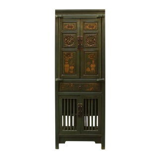 Chinese Green & Yellow Wood Carving Storage Cabinet
