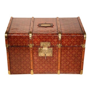 19th Century French Wooden & Leather Box With Brass Hardware