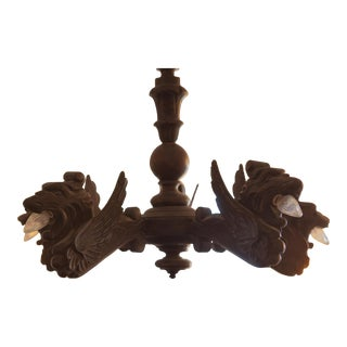French Gothic Wood Chandelier